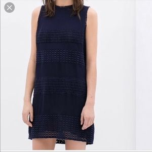 Zara Navy lace panel shift dress